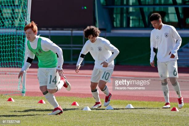 Players of Germany U16 Marvin Alexa Rilind Hetemi Malik Tillman at the warm up before the beginning of the match during UEFA Development Tournament...