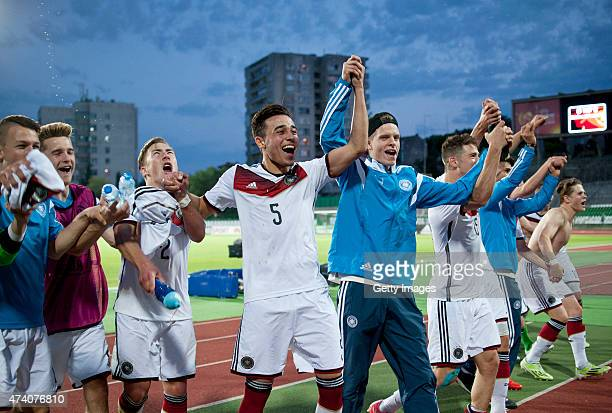 Players of Germany U17 celebrate after winning the UEFA European Under17 Championship Semi Final match between Germany U17 and Russia U17 at Beroe...