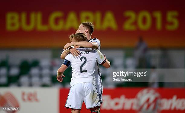 Players of Germany U17 celebrates after winning the UEFA European Under17 Championship Semi Final match between Germany U17 and Russia U17 at Beroe...