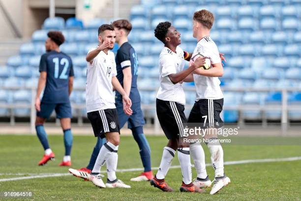 Players of Germany U17 Erkan Eyibil Merveille Papela and Ole Pohlmann in Goal celebration for Germany during U17Juniors Algarve Cup match between U17...