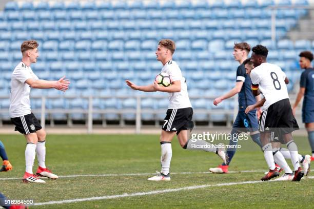 Players of Germany U17 Niclas Knoop Ole Pohlmann Erkan Eyibil Merveille Papela in Goal celebration for Germany during U17Juniors Algarve Cup match...