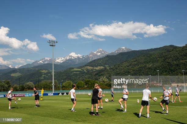 Players of Germany warm up during a training session on June 19, 2019 in Grenoble, France.