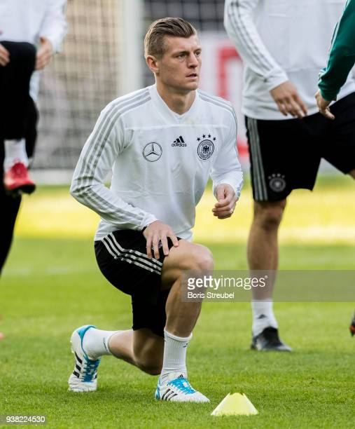 Players of Germany warm up during the training session of the German National Team at Olympiastadion on March 26 2018 in Berlin Germany