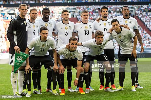 Players of Germany's national football team pose for a team photo prior to the international friendly match between Germany and Hungary at...