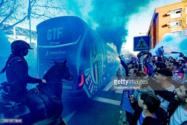 players of Getafe arrives at the stadium supporters during the UEFA Europa League match between Getafe v Ajax at the Coliseum Alfonso Perez on...