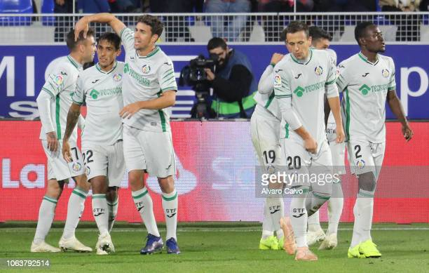 Players of Getafe celebrate goal during the La Liga match between SD Huesca and Getafe at El Alcoraz on November 5 2018 in Huesca Spain