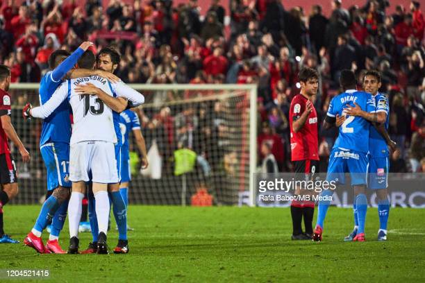 Players of Getafe CF celebrate the win during the Liga match between RCD Mallorca and Getafe CF at Iberostar Estadi on March 1 2020 in Mallorca Spain