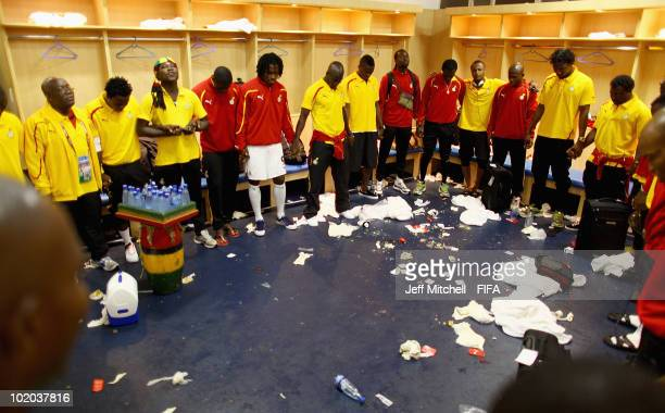 Players of Ghana celebrate their victory in the dressing room after the 2010 FIFA World Cup South Africa Group D match between Serbia and Ghana at...