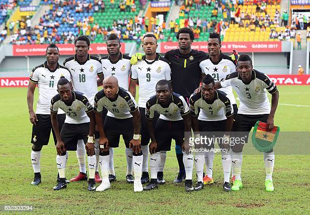 Players of Ghana pose for a photo ahead of the African Cup of Nations 2017 Group D football match between Ghana and Mali at PortGentil Stadium in...