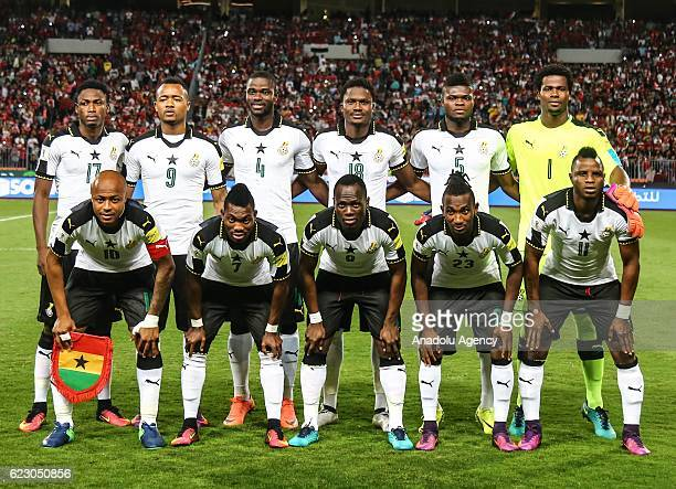Players of Ghana pose for a photo prior to the 2018 World Cup Africa qualifying match between Egypt and Ghana at the Borg elArab Stadium in...