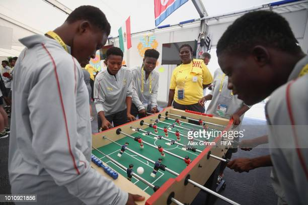 Players of Ghana visit the volunteers' center during the FIFA U-20 Women's World Cup France 2018 on August 4, 2018 in Vannes, France.