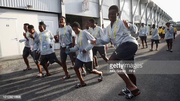 Players of Ghana visit the volunteers' center during the FIFA U20 Women's World Cup France 2018 on August 4 2018 in Vannes France