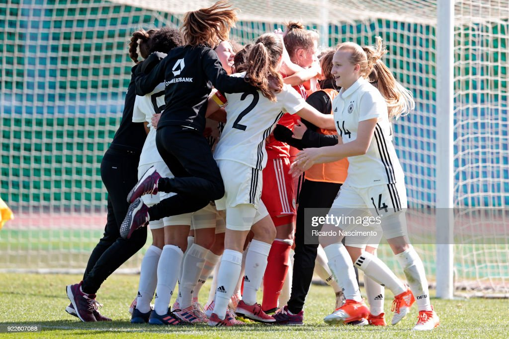 Players of Girls Germany U16 celebrate their vitory at the end of the final penalties during UEFA Development Tournament match between U16 Girls Germany and U16 Girls Italy at VRSA Stadium on February 19, 2018 in Vila Real de Santo Antonio, Portugal.