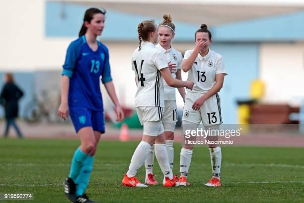 Players of Girls Germany U16 Paula Reimann LaraMarie Cordes and Joana Weber sadness at the end of the match during UEFA Development Tournament match...