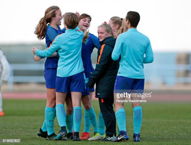 Players of Girls Netherllands U16 celebrating their vitory at the end of the match during UEFA Development Tournament match between U16 Girls Germany...