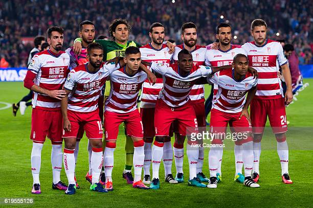 Players of Granada CF pose for a team photo before the La Liga match between FC Barcelona and Granada CF at Camp Nou stadium on October 29 2016 in...