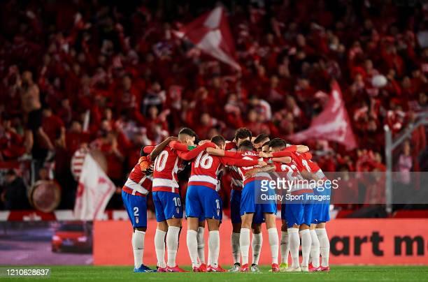 Players of Granada huddle prior to the Copa del Rey Semi Final second leg match between Granada CF and Athletic Club at Nuevo Los Carmenes on March...