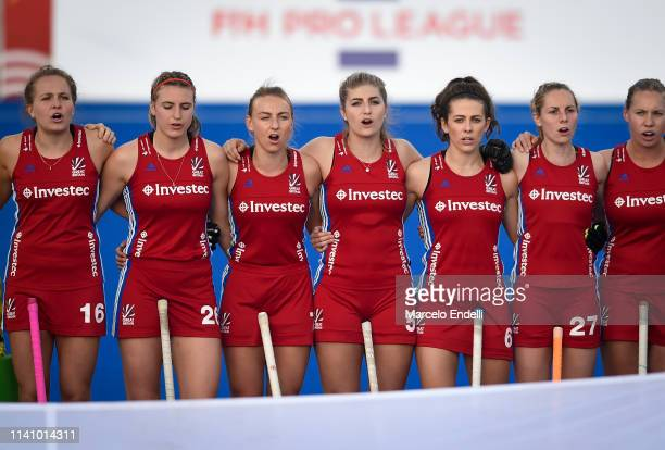Players of Great Britain sing a national anthem before the Women's FIH Field Hockey Pro League match between Argentina and Great Britain at Estadio...