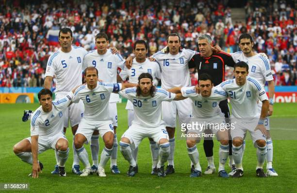 Players of Greece line up prior to the UEFA EURO 2008 Group D match between Greece and Russia at Stadion Wals-Siezenheim on June 14, 2008 in...