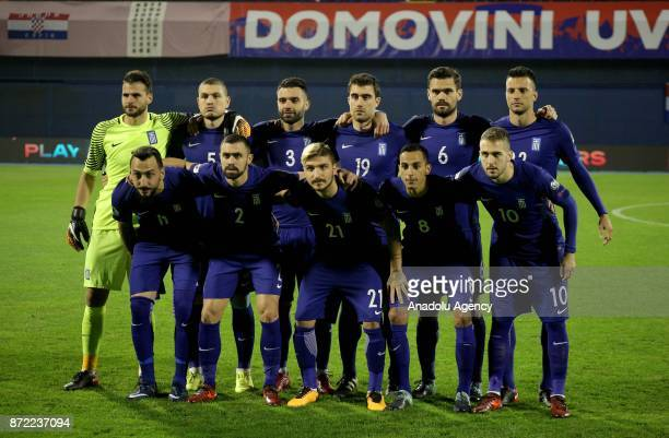 Players of Greece pose for a team photo ahead of the 2018 FIFA World Cup playoff qualification football match between Croatia and Greece at the...