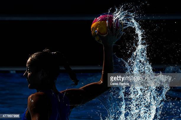 Players of Greece warm up prior to their Women's Waterpolo bronze medal match during day eight of the Baku 2015 European Games at the Water Polo...