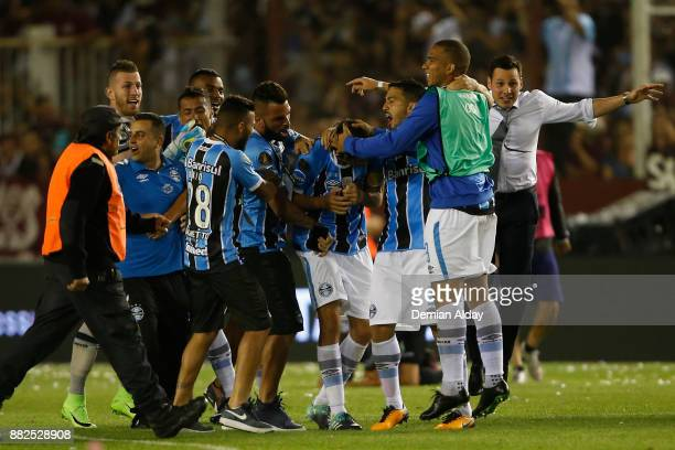Players of Gremio celebrate the championship after the second leg match between Lanus and Gremio as part of Copa Bridgestone Libertadores 2017 Final...