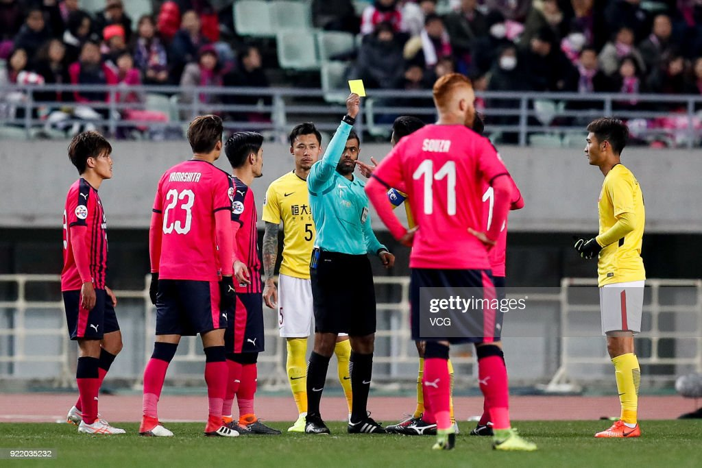 Players of Guangzhou Evergrande and player of Cerezo Osaka quarrel during the AFC Champions League Group G match between Cerezo Osaka and Guangzhou Evergrande at the Yanmar Stadium Nagai on February 21, 2018 in Osaka, Japan.