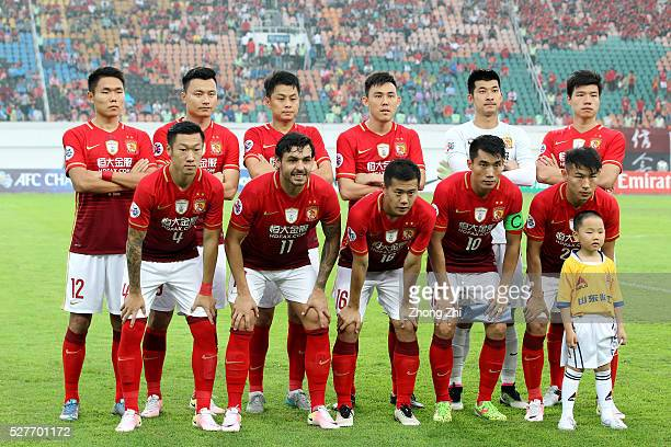 Players of Guangzhou Evergrande pose for group photo during the AFC Asian Champions League match between Guangzhou Evergrande FC and Sydney FC at...