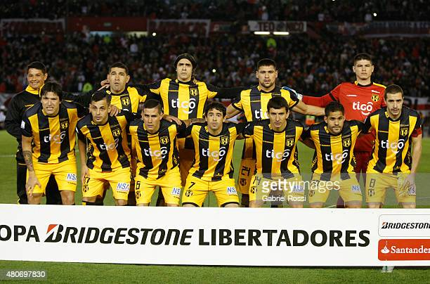 Players of Guarani pose for a photo prior the first leg Semi Final match between River Plate and Guarani as part of Copa Bridgestone Libertadores...