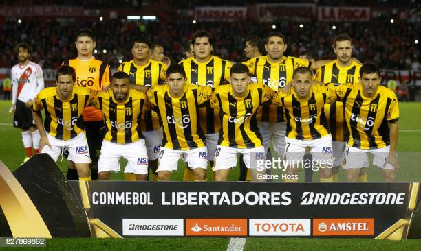 Players of Guarani pose for a photo prior the second leg match between River Plate and Guarani as part of round of 16 of Copa CONMEBOL Libertadores...