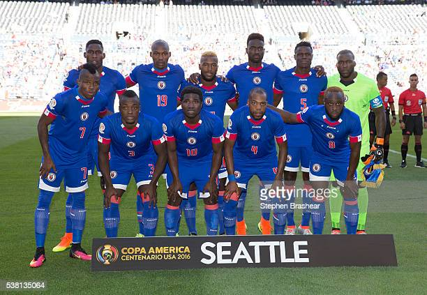 Players of Haiti pose for a team picture before a group B match between Haiti and Peru at CenturyLink Field as part of Copa America Centenario US...