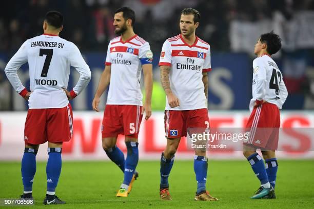Players of Hamburg look dejected after the Bundesliga match between Hamburger SV and 1 FC Koeln at Volksparkstadion on January 20 2018 in Hamburg...