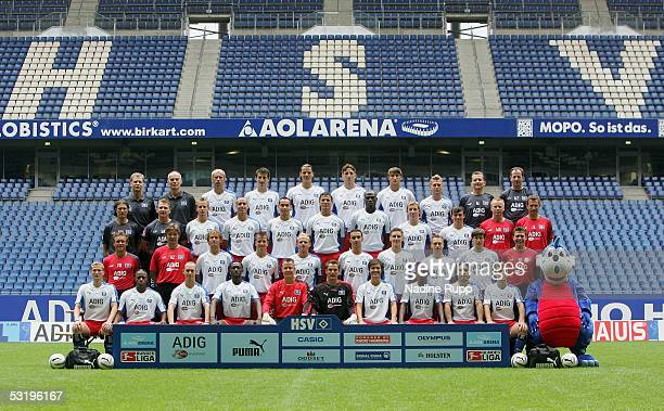 Players of Hamburger SV pose for the teampicture during the Team Presentation of Hamburger SV on July 5 2005 in Hamburg Germany Players are Top row...