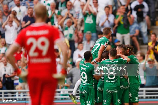 Players of Hammarby celebrates after Nikola Djurdjic of Hammarby has scored to 11 during the Allsvenskan match between Hammarby IF and Malmo FF at...