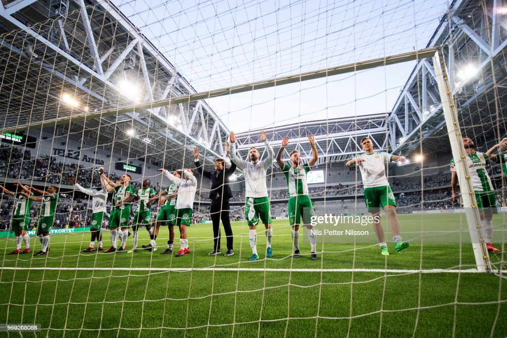 Players of Hammarby celebrates after the victory during the Allsvenskan match between Hammarby IF and Malmo FF at Tele2 Arena on May 16, 2018 in Stockholm, Sweden.