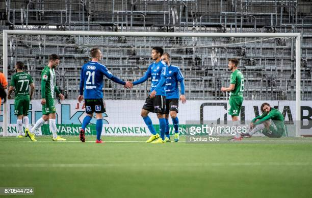 Players of Hammarby IF looks dejected after loosing the Allsvenskan match between Hammarby IF and Halmstad BK at Tele2 Arena on November 5 2017 in...