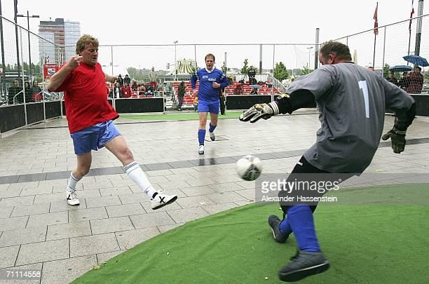 Players of Hanover and Papenburg in action during the German Football Championships of homeless people on June 3, 2006 in Kiel, Germany. The Teams...