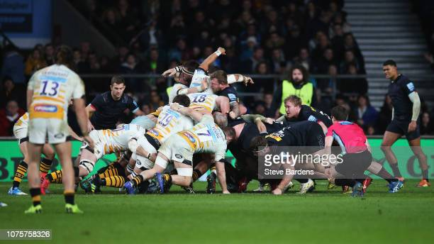 Players of Harlequins celebrate winning a scrum penalty during the Gallagher Premiership Big Game 11 match between Harlequins and Wasps at Twickenham...