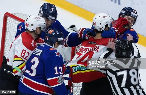 Players of HC Kunlun Red Star and HC SKA Saint Petersburg in action during the 2017/18 Kontinental Hockey League Regular Season match between HC...