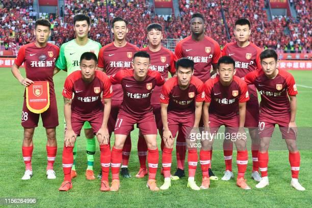 Players of Hebei China Fortune line up prior to 2019 China Super League between Hebei China Fortune and Jiangsu Suningi at Langfang Sports Center on...