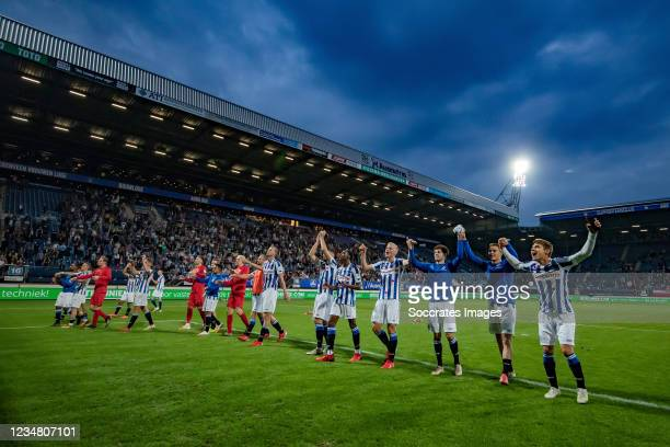 Players of Heerenveen celebrating the victory, Mitchell van Bergen of SC Heerenveen , Siem de Jong of SC Heerenveen, Joey Veerman of SC Heerenveen...