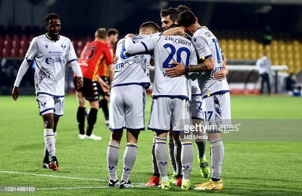Players of Hellas Verona FC Adrien Tameze, Darko Lazovic, Mattia Zaccagni, Miguel Veloso and Federico Ceccherini celebrate after an own goal of Daam...