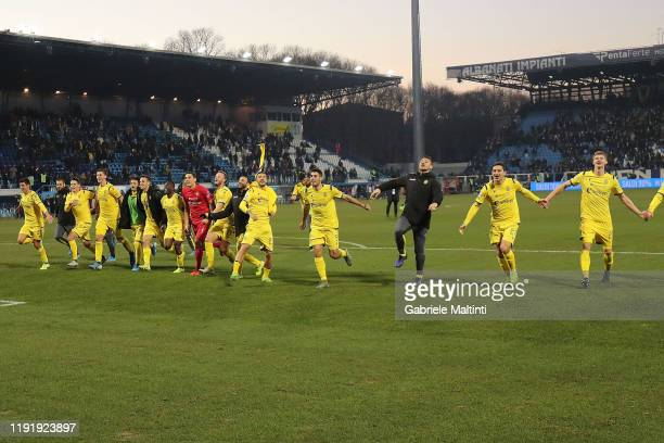 Players of Hellas Verona greet fans after during the Serie A match between SPAL and Hellas Verona at Stadio Paolo Mazza on January 5 2020 in Ferrara...