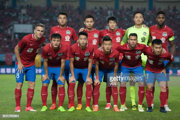 Players of Henan Jianye line up prior to 2017 Chinese Super League 15th round match between Henan Jianye and Tianjin Teda at Zhengzhou Hanghai...
