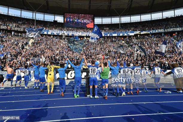 players of Hertha BSC infront of the Ostkurve after the Bundesliga game between Hertha BSC and 1st FC Koeln at Olympiastadion on April 14 2018 in...