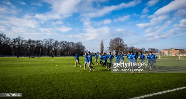 Players of Hertha BSC jogging during the training session at Schenckendorffplatz on January 26, 2021 in Berlin, Germany.