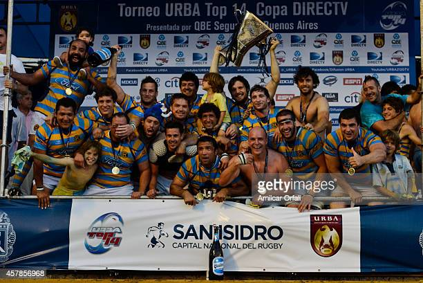 Players of Hindu Club celebrate after winning the a final match between CUBA and Hindu Club as part of URBA Top 14 at CASI Club on October 25, 2014...