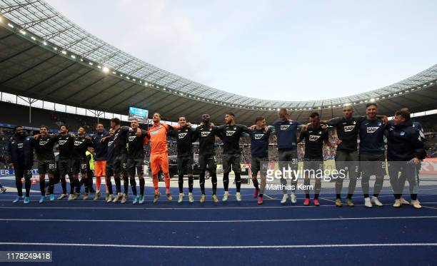 Players of Hoffenheim celebrate after the Bundesliga match between Hertha BSC and TSG 1899 Hoffenheim at Olympiastadion on October 26 2019 in Berlin...