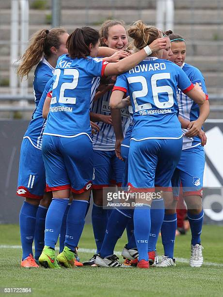 Players of Hoffenheim celebrate Isabella Hartig's first goal during the women Bundesliga match between FC Bayern Muenchen and 1899 Hoffenheim at...