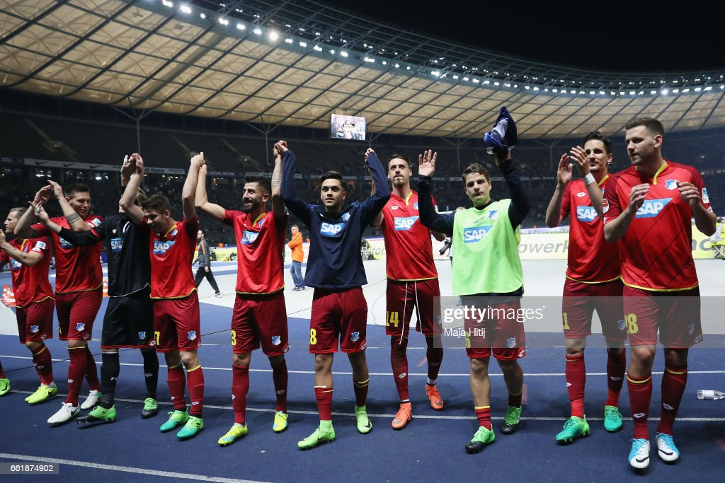 Players of Hoffenheim celebrate with the fans after the Bundesliga match between Hertha BSC and TSG 1899 Hoffenheim at Olympiastadion on March 31, 2017 in Berlin, Germany.